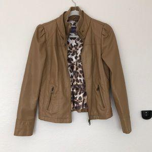 Madden Girl Jackets & Coats - Tan Faux Leather Jacket Madden Girl Medium